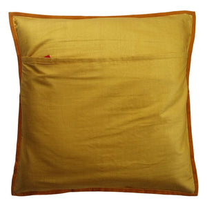 Nandi Embroidered Patchwork Yellow Cushion Cover