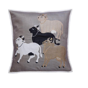 Nandi Embroidered Patchwork Gray Cushion Cover