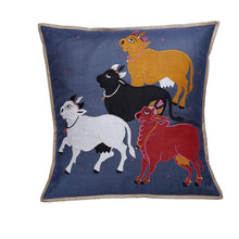 Load image into Gallery viewer, Nandi Embroidered Patchwork Steel Gray Cushion Cover
