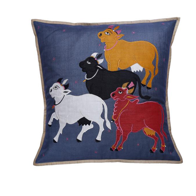 Nandi Embroidered Patchwork Steel Gray Cushion Cover