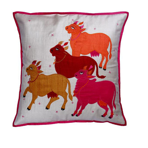 Nandi Embroidered Patchwork Cream and Pink Cushion Cover