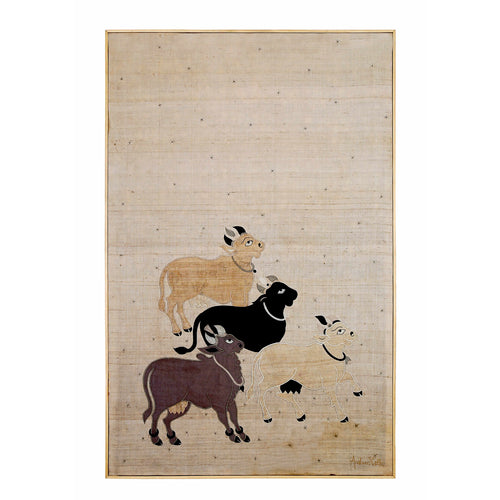 Nandi Embroidered Patchwork Silk Beige Wall Art