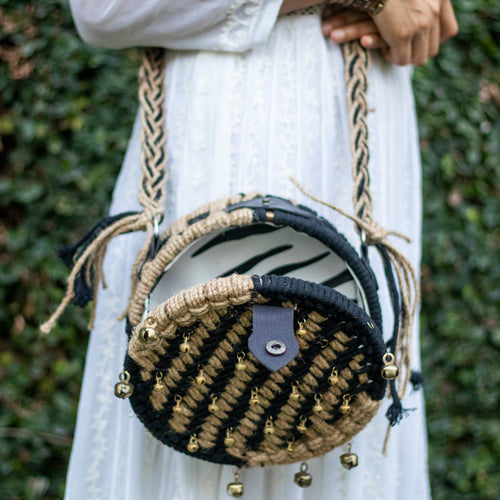 Black & White Sparkle Roundie v.2 Sling Bag
