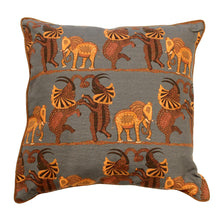 "Load image into Gallery viewer, Dancing Elephants Bluish Gray 18"" Printed Cushion Cover"