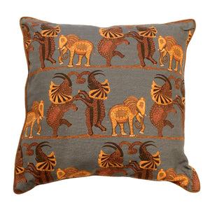"Dancing Elephants Bluish Gray 18"" Printed Cushion Cover"