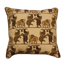"Load image into Gallery viewer, Dancing Elephants Beige 18"" Printed Cushion Cover"