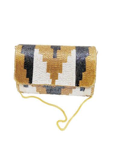 Gold and Black Handmade Clutch