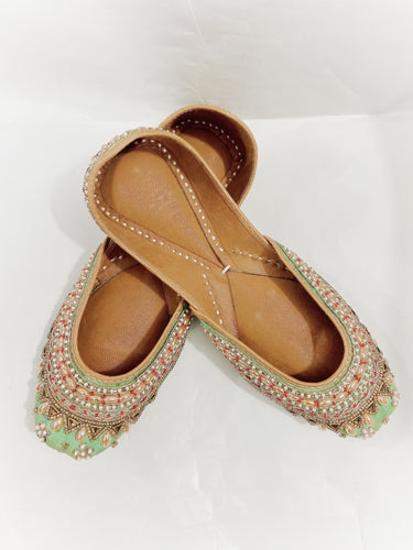 Handmade Green and Golden Indian Mojari Jutti Shoes  with Embroidered Pearls