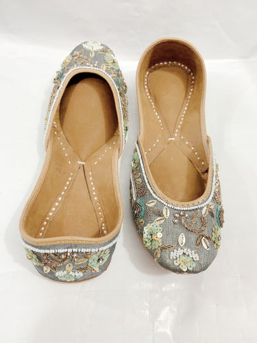 Handmade Grey Color Indian Mojari Jutti Shoes with Traditional Embroidery