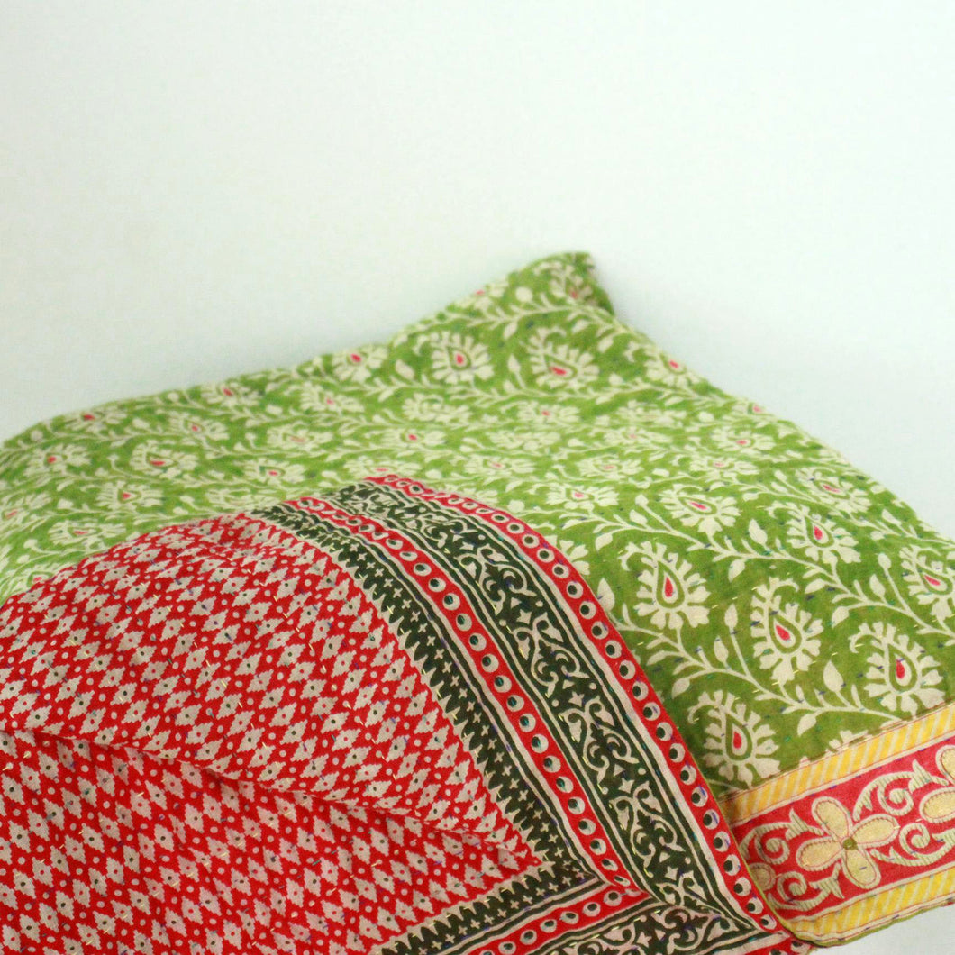 Standard Kantha Throw Blanket - Soft Green