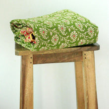 Load image into Gallery viewer, Standard Kantha Throw Blanket - Soft Green