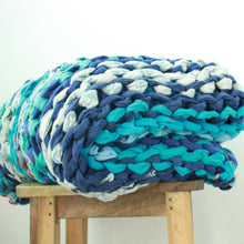 Load image into Gallery viewer, Chunky knit throw blankets in vintage cotton (one of a kind) Blanket Made with - recycled/vintage cotton Blue Color