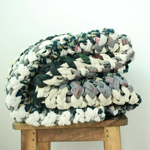 Load image into Gallery viewer, Chunky knit throw blankets in vintage cotton (one of a kind) Blanket Made with - recycled/vintage cotton Neutral Color