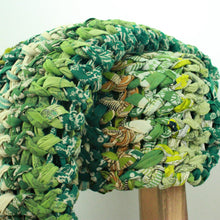 Load image into Gallery viewer, Chunky knit throw blankets in vintage cotton (one of a kind) Blanket Made with - recycled/vintage cotton Green Color
