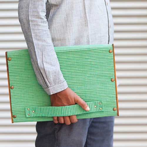 Laptop Sleeve 12.9 Inch - Set of 2 Sleeves -  Khadi Green & Gray Line