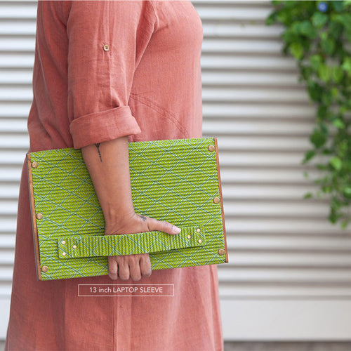 Laptop Sleeve 13 Inch - Set of 2 Sleeves -  Green & Khadi Blue