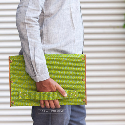 Laptop Sleeve 12.9 Inch - Set of 2 Sleeves -  Green & Khadi Blue