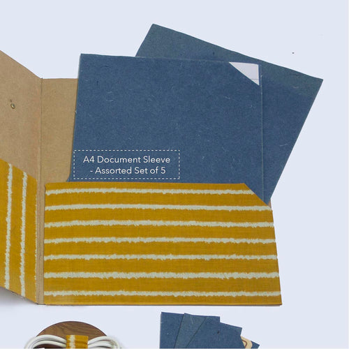 A4 Document Sleeve - Assorted Set of 5 in Denim Blue