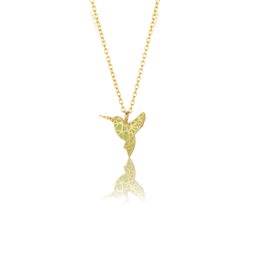 Humming Bird Necklace in Light Green