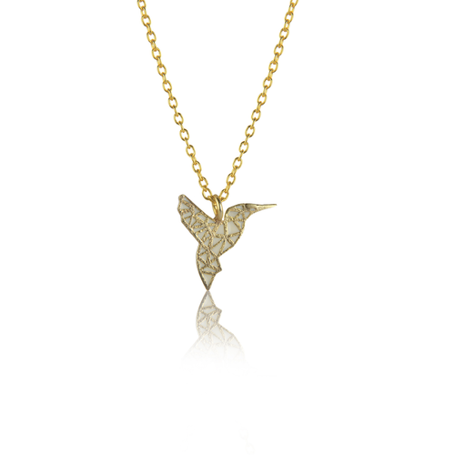Humming Bird Necklace in White