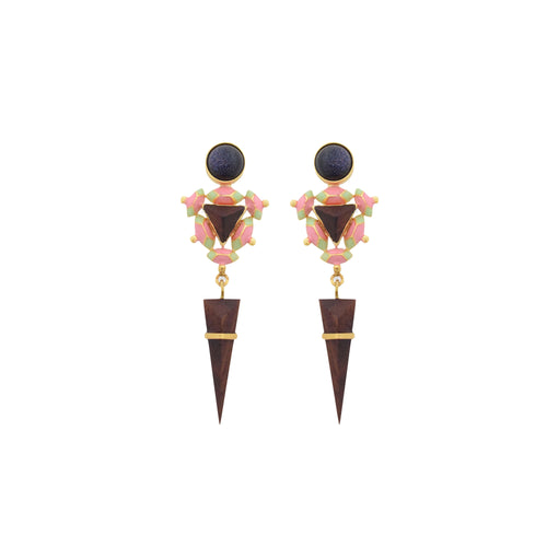 Sphinx Earrings - Black Glitter Stone