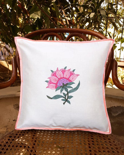 Valentine's Home Decor - Flamingo Storage Box and Floral Embroidered Baby Pink Cushion Cover Combo
