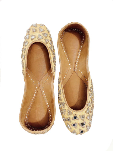 Handmade Gold Colored Indian Jutti Shoes with Embroidered Mirrors