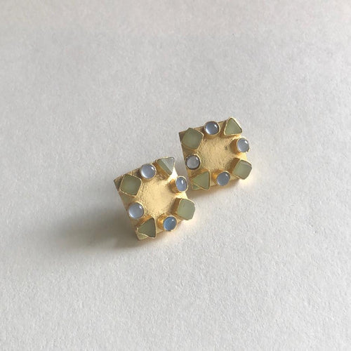 Stone Earrings in Blue