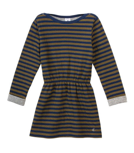 Long Sleeve Striped Tube Knit Dress