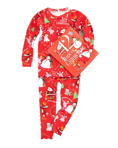 Girls 12 Days of Christmas Book and Pajamas Set