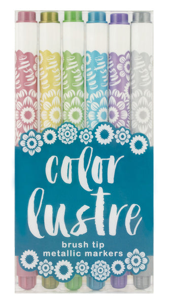 Color Lustre Brush Tip Metallic Markers