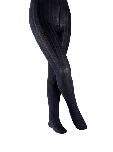 Classic Girls Ribbed Tights in Navy
