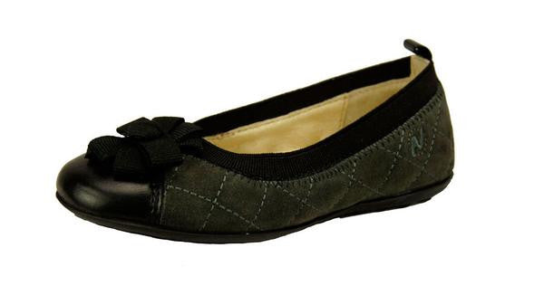 Grey & Black Quilted Slip-On Flats