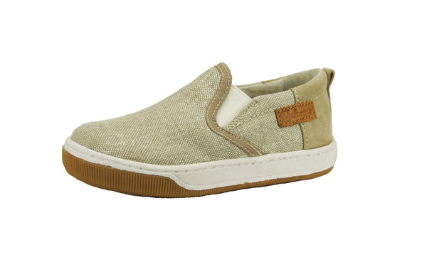 Boys Tan Canvas Slip On Loafer