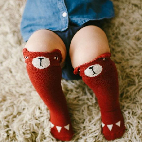 Bear Knee Socks in RED or BLUE