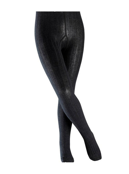 Classic Girls Ribbed Tights in Anthracite Grey