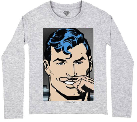 Superman Life Is a Joke Mustache Long Sleeve Tee in Grey