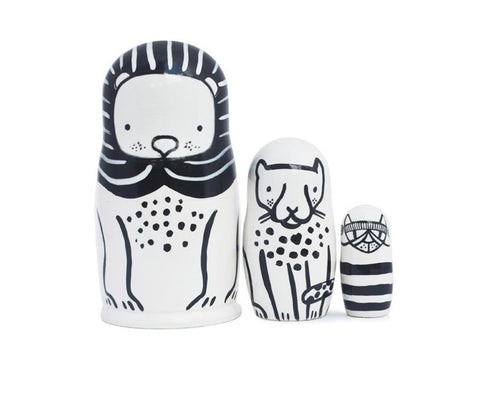 Black & White Animals Nesting Dolls - Cats Big & Small