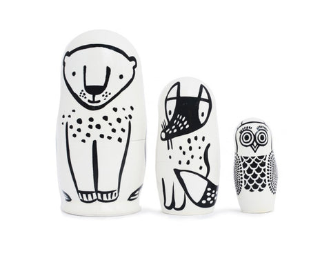 Black & White Animals Nesting Dolls - Forest Friends