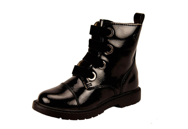 Girls Patent Combat Boots