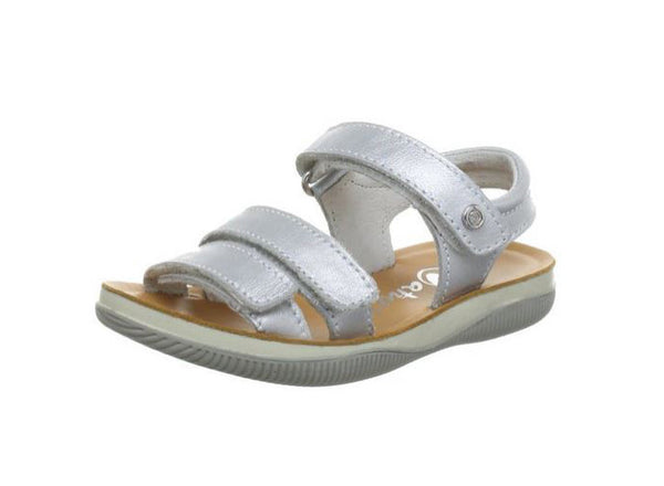 Metallic Silver Velcro Adjustable Sandal