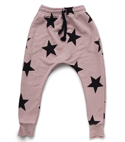 Star Baggy Sweatpants in Powder Pink