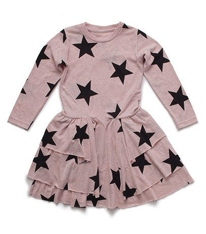 Long Sleeve Layered Star Dress in Powder Pink
