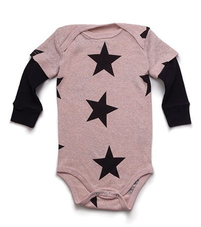 Star Onesie in Powder Pink