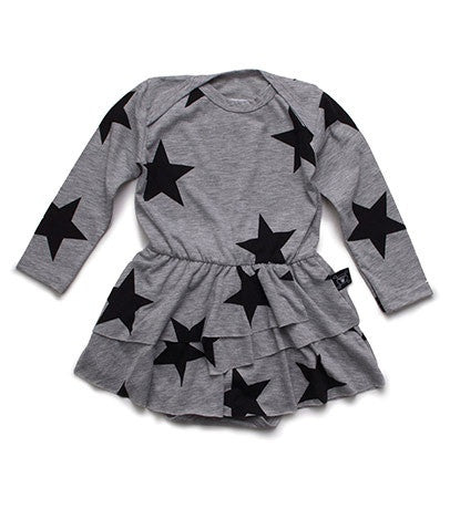 Star Onesie with Skirt in Heather Grey