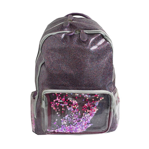 Metallic Grey Backpack With Pink Confetti