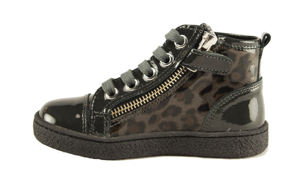 High Top Lace/Zip Sneakers in Charcoal Leopard Combo