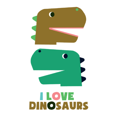 I Love Dinosaurs Temporary Tattoo Set
