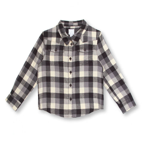 """Feutre"" Boys Shirt in Grey Plaid"