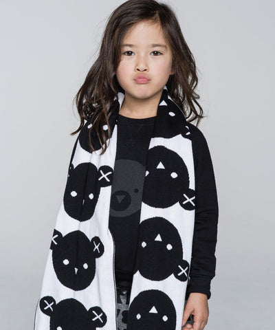 Dual Sided Bear Scarf in Black/White Multi